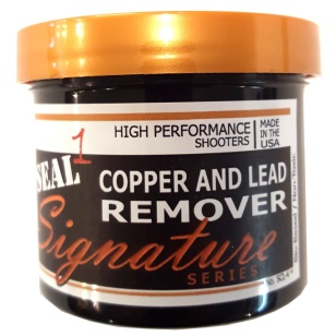 "SEAL 1™ Signature Series HIGH PERFORMANCE Copper and Lead Remover Specially Designed for the ""High Performance"" Shooter Removes Copper and Lead from the bore without the use of toxic chemicals. State of the art technology is used to remove Copper and Lead fouling from the bore without the smell or dangerous chemicals normally used. SEAL 1's Copper and Lead Remover can also be used to help improve performance in bores that have slight imperfections"