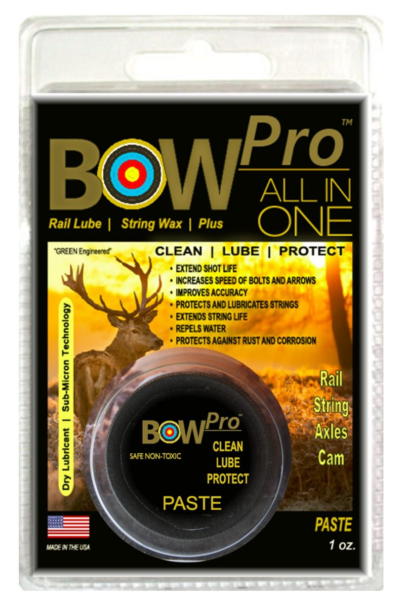 "SEAL 1™ - Archery Line BOW Pro™ Combination Premium Rail Lube and String Wax For all bows and crossbows This ""ALL IN ONE"" product line is designed to clean, lube and protect bows and crossbows with a unique Bio-Based Sub-Micron Technology."